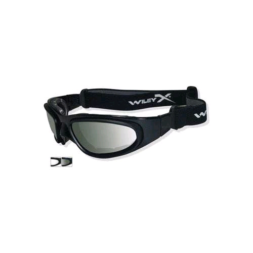Wiley-X SG-1 75 Polarized Goggles, Smoke/Clear/Gloss Black Frame