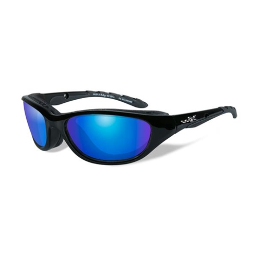 Wiley X AirRage Sunglasses Polarized Blue Mirror/Gloss Black Frame